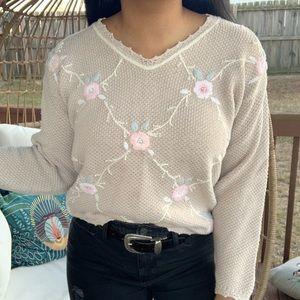 Vintage Boho Floral V Neck Argyle Sweater SZ M
